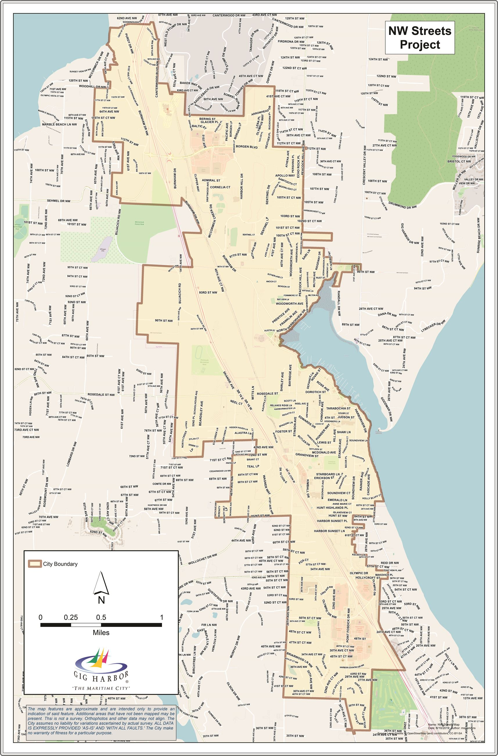 """NW"" Directional Project Streets Map"